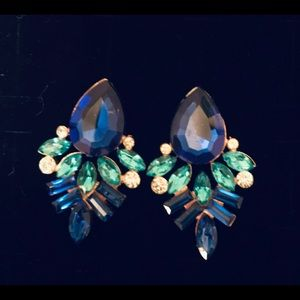 Blue, turquoise faux jeweled earrings